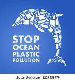 Stop ocean plastic pollution. Ecological poster. Dolphin composed of white plastic waste bag, bottle on blue background.