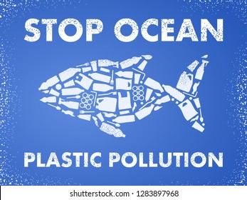 Stop ocean plastic pollution. Ecological poster Fish composed of white plastic waste bag, bottle on blue background.