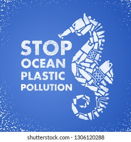 Stop ocean plastic pollution. Ecological poster Sea-horse composed of white plastic waste bag, bottle on blue background. Plastic problem.