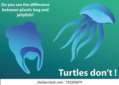 Stop ocean plastic pollution. Jellyfish and plastic bag. Plastic bag in ocean. Jellyfish in ocean. Do you see the difference between plastic bag and jellyfish. Turtle don't.