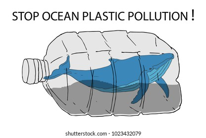 Stop ocean plastic pollution vector illustration. World Water Day. Earth Day.