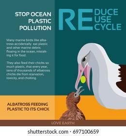 Stop ocean plastic pollution-Albatross feeding plastic to its chick