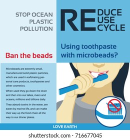 Stop ocean plastic pollution-Ban the beads-Reduce, Reuse, Recycle