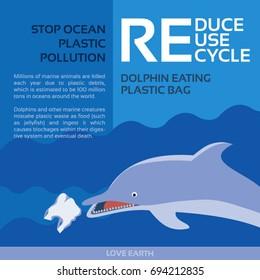 Stop ocean plastic pollution-Dolphin eating plastic bag
