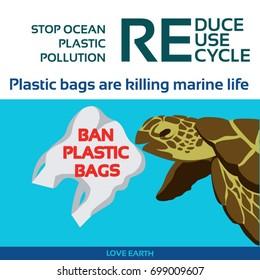 Stop ocean plastic pollution-Sea turtle eating plastic bag