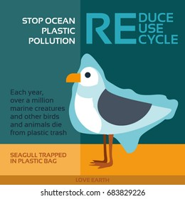 Stop ocean plastic pollution-Seagull trapped in plastic bag