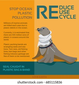 Stop ocean plastic pollution-Seal caught in plastic bag and plastic band