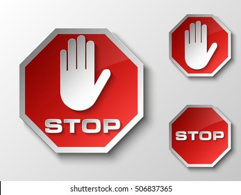 STOP palm icon, No entry icon, road sign logo