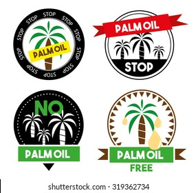 Stop palm oil icons set