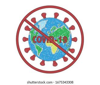 Stop Pandemic Covid-19 of Coronavirus Sars-CoV-2 vector illustration