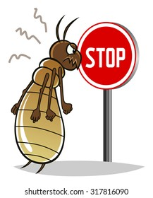 Stop pest illustration with a funny cartoon termite.