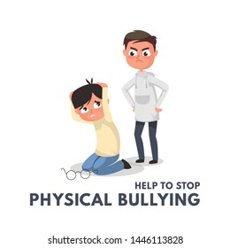 Stop physical bullying concept with angry boy. Children bullying vector illustration.Physical bullying at school or daily life between kids and teenagers. Vector illustration in cartoon style