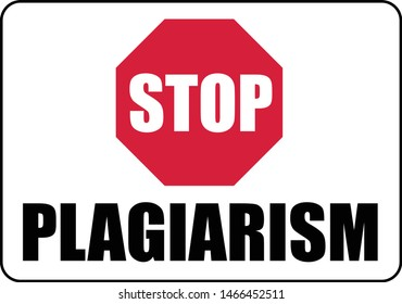 Stop Plagiarism Vector Warning Sign