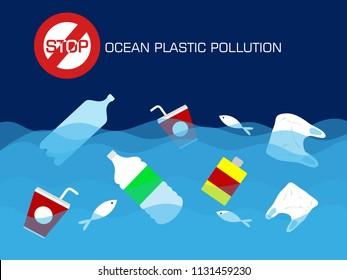 Stop plastic ocean pollution concept. vector illustration.