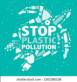 stop plastic pollution environmental banner plastic garbage trash marine life in our ocean decor