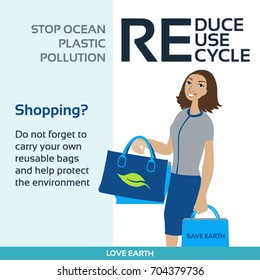 Stop plastic pollution-Ban plastic bags-Use reusable bags