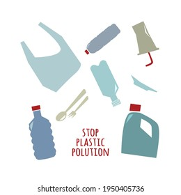 Stop plastic polution poster, print or card. Simple siluettes on the white background. Eco life vector illustration. Zero waste.