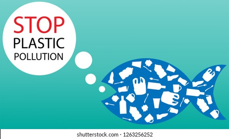 Stop plastic problems in the sea. Fish composed of white plastic waste. Plastic waste trashes the environment in the sea. Vector illustration concept poster of save the sea.