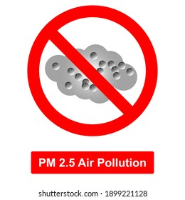 Stop PM 2.5 air pollution vector sign. EPS10