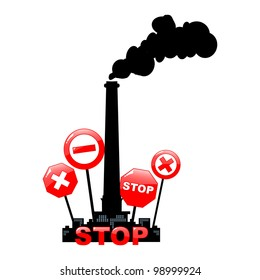 stop pollution environmental background - vector illustration