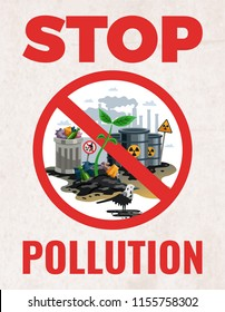 Stop pollution sign ecological awareness poster with save earth protect planet environmental alert symbols flat vector illustration