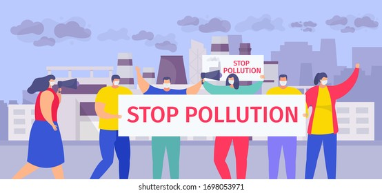 Stop pollution vector illustration. Cartoon flat people in face masks holding stop air pollution sign, group of activist characters standing on urban city street, shouting into megaphone background