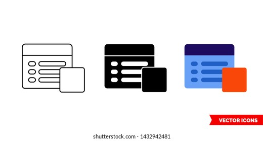 Stop property icon of 3 types: color, black and white, outline. Isolated vector sign symbol.