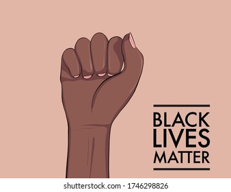Stop racism. Black lives matter. African American arm gesture. Anti discrimination, help fighting racism poster, Politics tolerance acceptance banner concept. People equality united template in vetor.