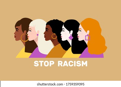Stop racism. Black lives matter, we are equal. No racism concept. Flat style. Women. Different skin colors. Vector illustration. Isolated. - Shutterstock ID 1759359395