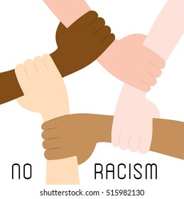 Stop racism icon. Motivational poster against racism and discrimination. Hands of different races hold together. Vector Illustration