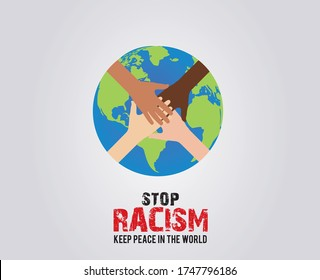 Stop Racism- Keep peace in the world. Earth with different color hand no racism concept vector illustration.