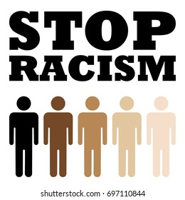 Stop Racism Poster with Skin Color in Human. Vector Illustration. Flat Style. Abstract Decorative Design for No Racism Banners, Posters, Cards, Icons, Signs.