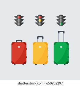 stop, ready fly & drive. isolated luggage or baggage modern cartoon like a stoplight & traffic lights flat design style. red, green & yellow vector suitcase. waiting for your holiday and go travel.