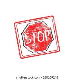 STOP red grunge rubber stamp vector illustration