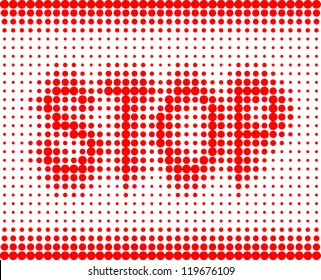 STOP red inscription on a white background with halftone effect
