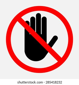 STOP Red octagonal, hand sign for prohibited activities, emblem, sign in flat style