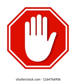 Stop red sign icon with white hand - stock vector