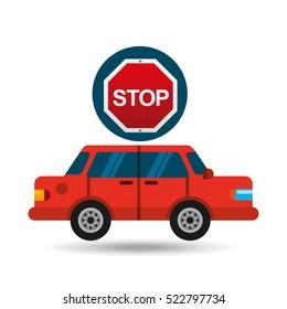 stop road sign sedan red vector illustration eps 10