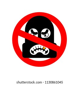 Stop Robber. No Rogue. It is forbidden Burglar. Red prohibitory sign. Ban thief vector illustration