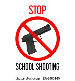 Stop school shooting vector isolated. Gun behind the red forbidden sign. Concept of children violence control. Crime in school, student in danger. Pistol weapon.