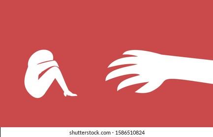 Stop sexual harassment women. Women abuse. Women work. Flat vector illustration