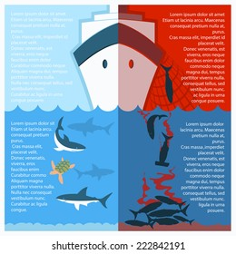 Stop shark finning poster for text.Vector color illustration with poaching vessel and killed shars