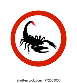 Stop sign Black Scorpion. Scorpio with red bloody sting. Vector illustration for your design