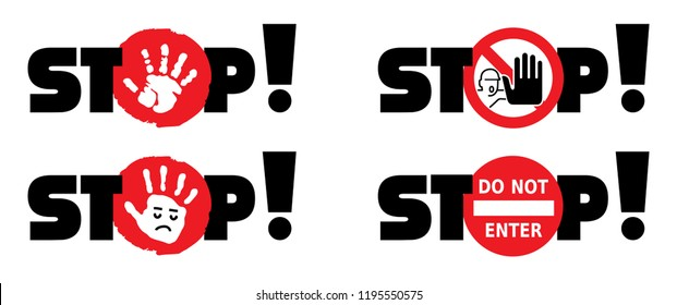 Stop sign do not enter danger warning attention traffic road No Ban stop vector icon symbool Beware hand hands no admittance handprint emergency prohibition forbid Caution no entry walk walking person