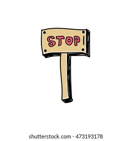 Stop sign doodle freehand drawn cartoon