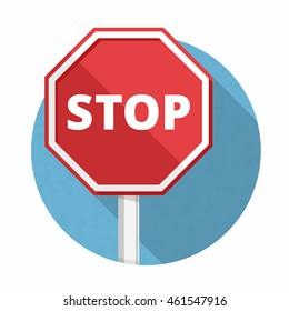 Stop sign, flat design, vector eps10 illustration