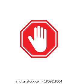 Stop sign. A forbidding sign with a man's hand in a red octagon. Simple vector illustration on a white background.