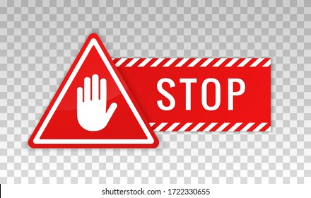 Stop sign. Hand icon. Warning symbol. Signal stop restricted sign. Halt icon silhouette hand red color isolated on background. Prohibited activities. Roadsign with. No entry, restriction. Vector
