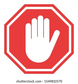 Stop sign, icon hand vector. Red color singe symbol illustration