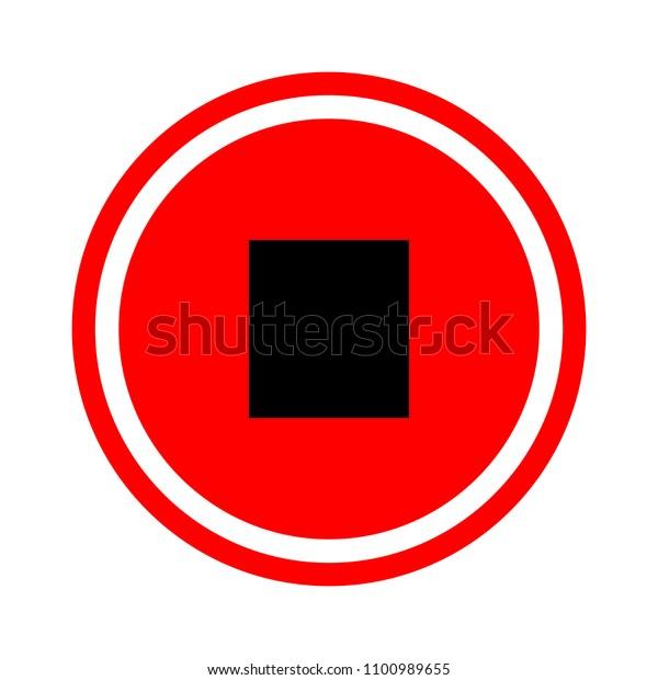Stop sign icon. Media Player navigation symbol
